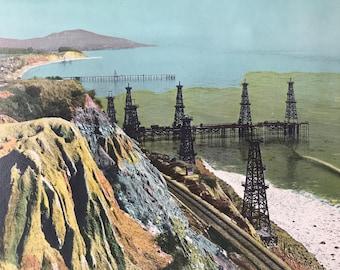 1943 Oil Wells near Santa Barbara Original Vintage Photo Print - California - Railway - Available Framed