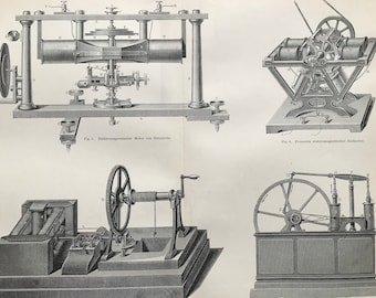 1897 Electromagnetic Machines Large Original Antique Lithograph - Available Mounted and Matted - Victorian Technology - Vintage Wall Decor