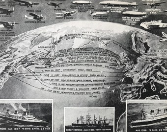 1940s The Conquest of the Wide Atlantic by Ship and Aircraft Original Vintage Print - Mounted and Matted - Transport - Available Framed