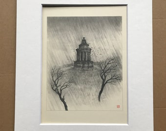 1948 Edinburgh - Burns' Monument in Storm Original Vintage Chiang Yee Illustration - Scotland - Mounted and matted - Available Framed