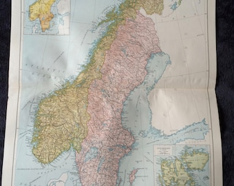 1920 Norway and Sweden Extra Large Original Antique Map with inset maps showing Population and of Spitsbergen - showing Railways, Canals