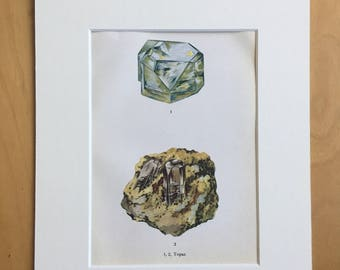 1916 Minerals Original Antique Lithograph - Mounted and Matted - 8 x 10 inches - Topaz - Mineralogy - Crystals