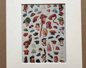 1940s Hats, Bonnets and Caps of Many Lands and Ages Original Vintage Print - Mounted and Matted - Historical Fashion - Available Framed