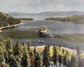 1944 Emerald Bay, Lake Tahoe Original Vintage Photo Print - California - Mounted and Matted - Available Framed