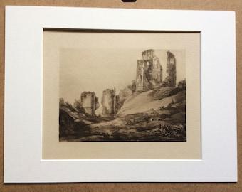 1902 Corfe Castle by Turner Original Antique Matted Photogravure - Fine Art Landscape - William Turner - Sepia