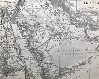 1911 Arabia Original Antique Map with inset map of Aden and Vicinity - Mounted and Matted - Available Framed