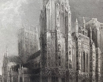 1836 Wells Cathedral - West Front Original Antique Engraving - Architecture - Somerset - Mounted and Matted - Available Framed