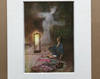 1979 Japanese Fairytale Illustration Original Vintage Print - The Cold Lady - Japan - Mounted and Matted - Available Framed