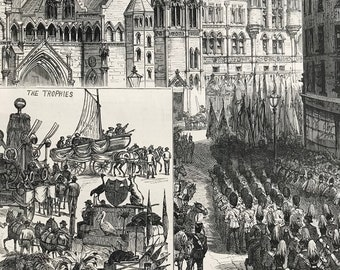 1883 Lord Mayor's Day: Procession waiting outside the New Law Courts - Indian and Colonial Trophies Original Antique Engraving