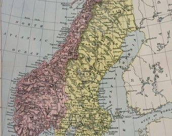 1875 NORWAY & SWEDEN large original antique map, Scandinavia, cartography, geography, wall decor, home decor, encyclopaedia britannica