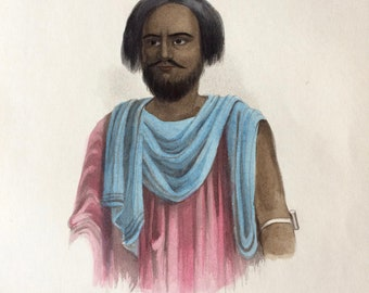 1855 A Malik of the Sheggia Arabs Original Antique Hand Coloured Engraving - Human Races - Anthropology - Ethnography