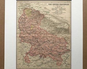 1908 The United Provinces Original Antique Map showing Native States, Railways and Canals - India - Divisions of Agra and Oudh
