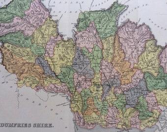 1883 Dumfries Shire Shire Original Antique Map - Scottish County, cartography, Scotland, Victorian Decor
