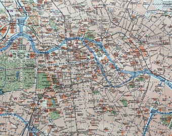 1924 Central Berlin Original Antique Map - Germany - City Plan - Available Framed