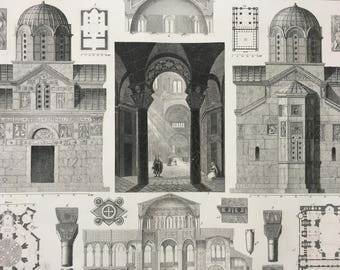 1849 Byzantine Architecture Large Original Antique Engraving - Mounted and Matted - Available Framed - Church - Victorian Decor