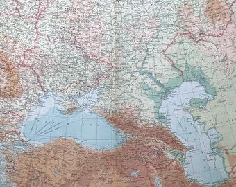 1922 SOUTHERN RUSSIA Large Original Antique Times Atlas Physical Map - Ukraine - Georgia - Armenia - Azerbaijan - Romania - Turkey