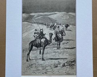 1892 In the Desert by Albert Richter Original Antique Engraving - Available Framed - Victorian Decor - Camal - Sahara Desert