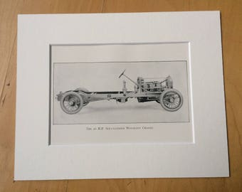 1924 The 20 H.P. Six Cylinder Wolseley Chassis Original Antique Print, 8 x 10 inches - mounted and matted - Motor Car - Automobile - Vehicle