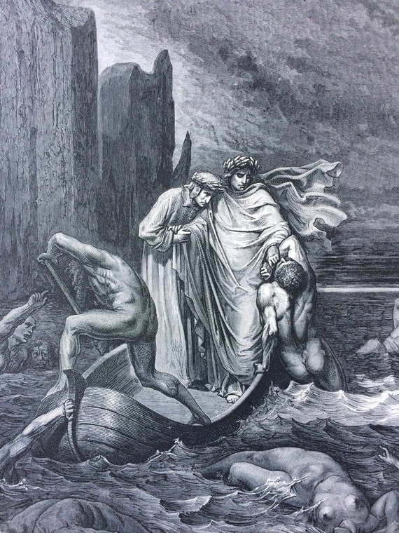 1870 Dante S Inferno Original Antique Gustave Dore Engraving Mounted And Matted Decorative Art Wall Decor Biblical Art