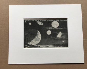 1940s Children of the Sun - The Earth's Sister Planets Original Vintage Illustration - Mounted and Matted - Astronomy - Available Framed