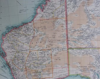 1922 AUSTRALIA (Western Section) Large Original Antique Times Atlas Political Map with inset maps of King George Sound and Perth