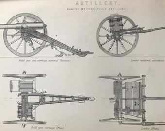 1891 Modern British Field Artillery Original Antique Print - Military Decor - Weaponry - Available Mounted, Matted and Framed
