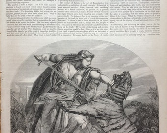 1858 'Retribution' from a picture y E. Armitage Illustrated Times Cover, original antique print, victorian art, Fine Art Print, Classic Art