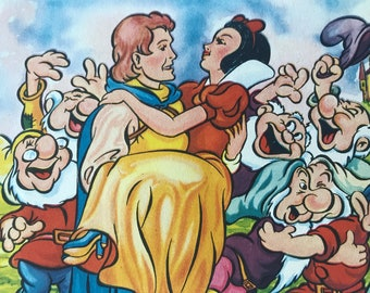 1950s Snow White Original Vintage Disney Print - Walt Disney - Mounted and Matted - Available Framed