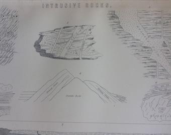 1891 Intrusive Rocks Original Antique Encyclopaedia Illustration - wall decor - home decor - Geology - Granite Rocks - Isle of Skye