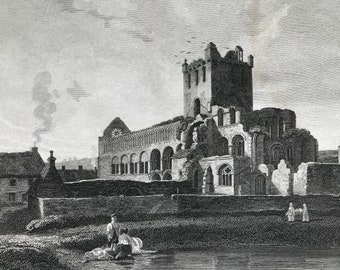 1817 Jedburgh Abbey (Southeast View) - Roxburghshire Original Antique Engraving - Scotland - Borders - Vintage Wall Decor - Available Framed