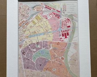 1898 Paris - Dix-Neuvieme Arrondissement Original Antique Map - France - Parisian Decor - City Plan - Mounted and Matted - Available Framed