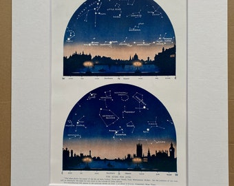 1923 June Stars over London Original Antique Print - Mounted and Matted - Available Framed - Astronomy - Star Map