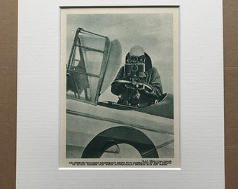 1940 Air Observer practising Machine Gun Firing with camera-Gun Original Vintage Print - Mounted and Matted - Aircraft - Available Framed