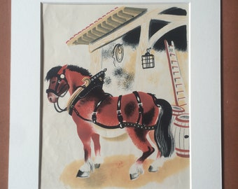 1940 Cart Horse Original Vintage Illustration - Mounted and Matted - Agriculture - Farm Animals - Equestrian Art - Available Framed