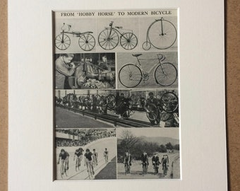 1940s From Hobby Horse to Modern Bicycle Original Vintage Print - Mounted and Matted - Cycling - Cyclist - Velodrome - Available Framed