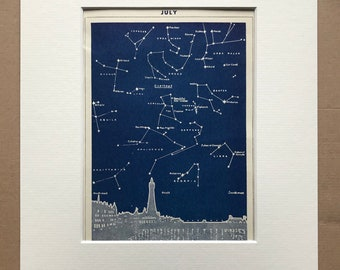 1940s July Star Map seen over Bristol Original Vintage Print - Mounted and Matted - Astronomy - Celestial Art - Available Framed