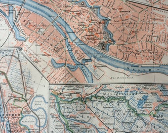1895 Bremen Original Antique Map - Available Mounted and Matted with inset maps of Hanseatic City and Harbour - Germany - German Province