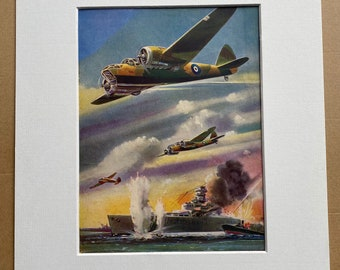 1951 Blenheim Bombers attacking a German Warship Original Vintage Print - Military Aircraft - Mounted and Matted - Available Framed