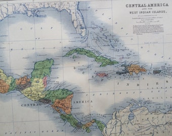 1859 CENTRAL AMERICA & West Indian Islands Original Antique Map, 10.5 x 13.5 inches, historical wall decor, A K Johnson Atlas, Home Decor