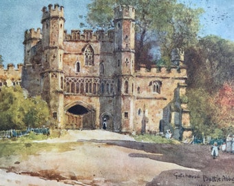 1907 Gatehouse, Battle Abbey Original Antique Print - Mounted and Matted - Available Framed - Sussex - England