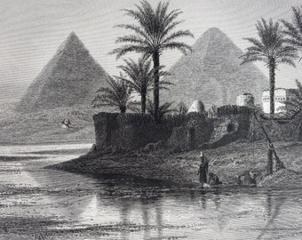 1880 Pyramids of Gizeh Original Antique Engraving - Egypt - Mounted and Matted - Available Framed