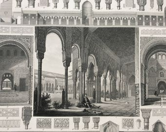 1849 Moorish Architecture Large Original Antique Engraving - Mounted and Matted - Available Framed - Victorian Decor