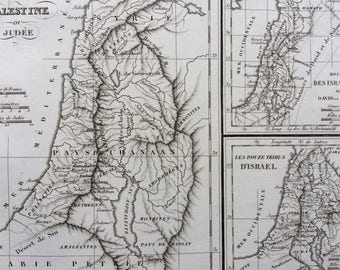 1822 Palestine ou Judee Original Antique Engraved Ancient History Map - Fine Detail - World Map - Cartography - Israel - Judea - Canaan