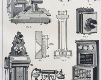 1904 Telephone Original Antique Print - Helmholtz - Switchboard - Vintage Telephone - Wall Decor - Victorian Art