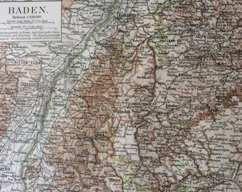 1894 Baden Original Antique Map - Available Mounted and Matted - Germany - German Province - Vintage Map