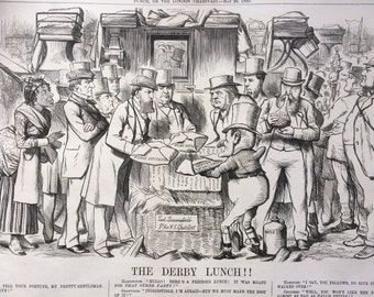 1880 The Derby Lunch!! large original antique political satire print, 10.5 x 17 inches