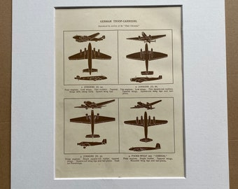 1951 German Troop Carriers Original Vintage Print - Aircraft - Airplane - Mounted and Matted - Available Framed