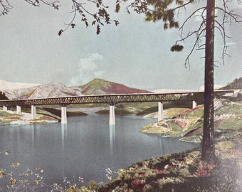 1944 Pit River Bridge, Shasta Reservoir Original Vintage Photo Print - California - Mounted and Matted - Available Framed