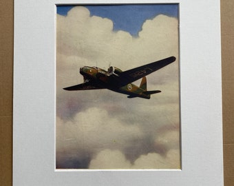1951 A 'Wellington' Bomber Original Vintage Print - Military Aircraft - Airplane - Mounted and Matted - Available Framed