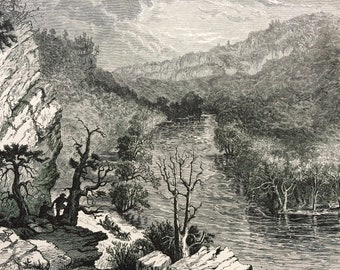 1895 Petersburg Gap, West Virginia Original Antique Wood Engraving - Mounted and Matted - Decorative Art - Available Framed